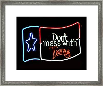 Framed Print featuring the photograph Texas Flag Saloon Neon by Daniel Hagerman
