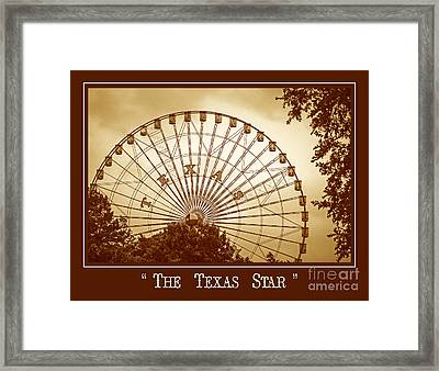 Texas Star In Gold Framed Print