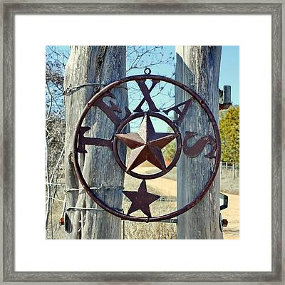 Texas Star Rustic Iron Sign Framed Print