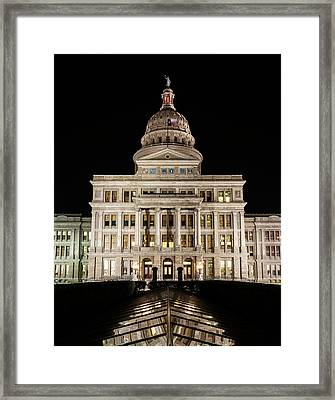 Texas State Capitol Night Reflection Framed Print by Stephen Stookey