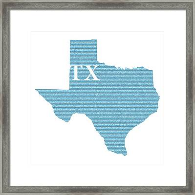 Texas State Map With Text Of Constitution Framed Print