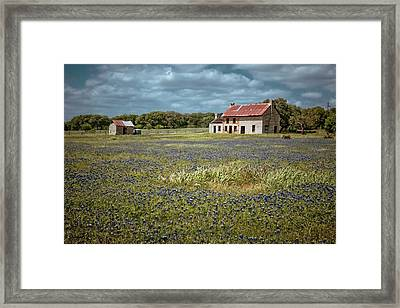 Framed Print featuring the photograph Texas Stone House by Linda Unger