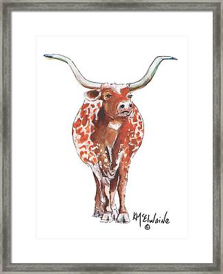 Texas Longhorn Taking The Lead Watercolor Painting By Kmcelwaine Framed Print