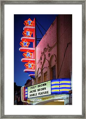 Texas Theater Neon Sign Framed Print by Inge Johnsson