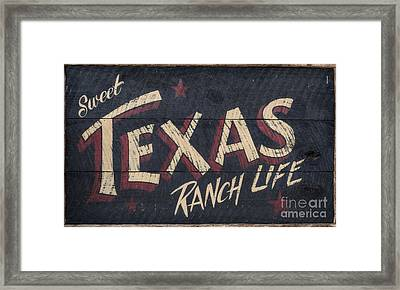 Texas Wood Sign Framed Print by Mindy Sommers
