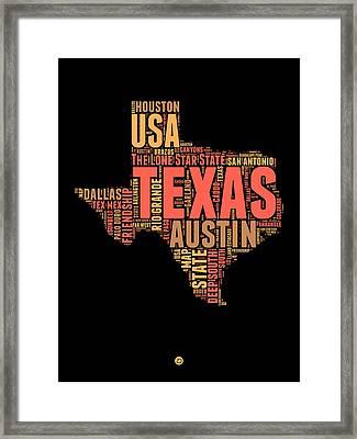 Texas Word Cloud 1 Framed Print