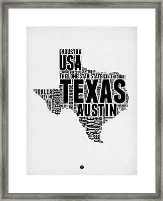 Texas Word Cloud 2 Framed Print