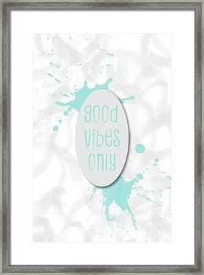 Text Art Good Vibes Only - Light Cyan Framed Print