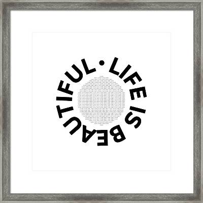 Text Art Life Is Beautiful - Carpe Diem Framed Print