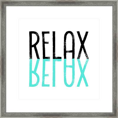 Text Art Relax - Cyan Framed Print