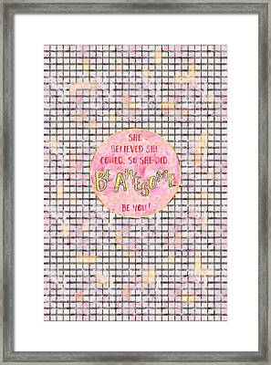 Text Art She Believed - Grey/rose Framed Print