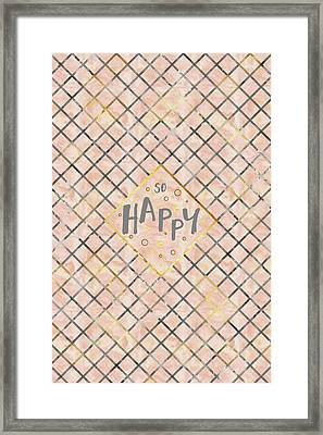 Text Art So Happy - Orange Framed Print