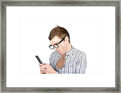 Text Messaging Nerd Framed Print by Jorgo Photography - Wall Art Gallery