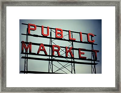 Text Public Market In Red Light Framed Print by © Reny Preussker