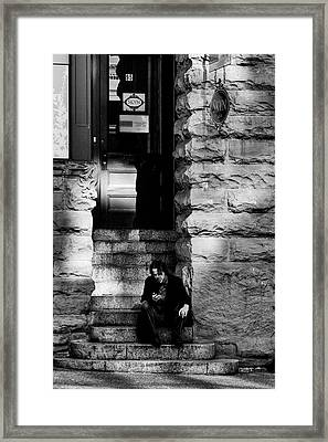 Texting Framed Print by David Patterson