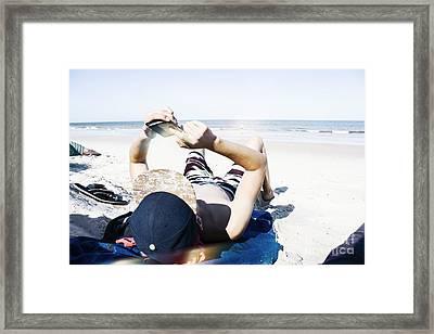 Texting Teenage Man Framed Print by Jorgo Photography - Wall Art Gallery