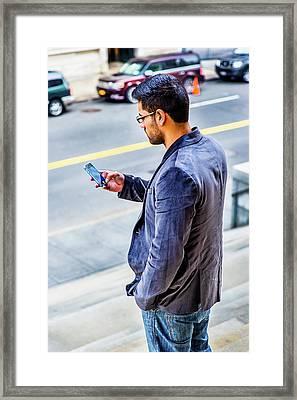 Man Texting Framed Print