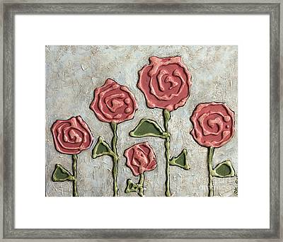 Texture Blooms In Antique Rose Framed Print by Stewalynn Art