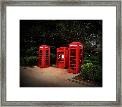 Texture Drama Telephone Booths Framed Print by Aimee L Maher Photography and Art Visit ALMGallerydotcom