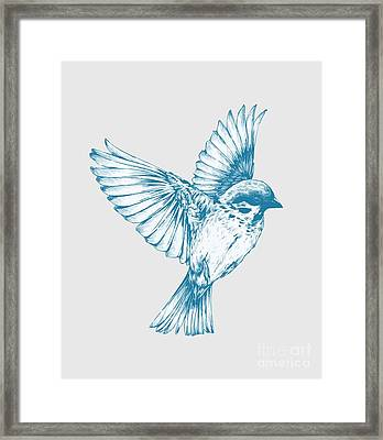 Textured Bird With Changeable Background Color Framed Print by Sebastien Coell