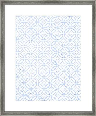 Textured Blue Diamond And Oval Pattern Framed Print by Gillham Studios