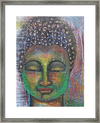 Textured Green Buddha Framed Print
