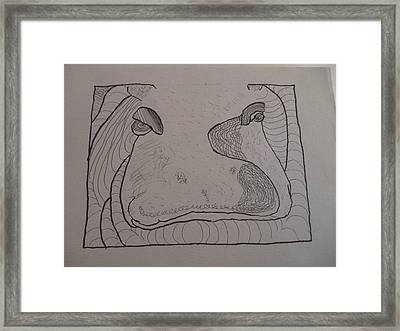 Framed Print featuring the drawing Textured Hippo by AJ Brown
