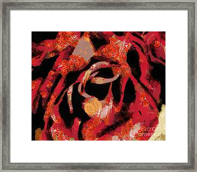 Framed Print featuring the painting Textured Rose Velvetty Red  by Catherine Lott