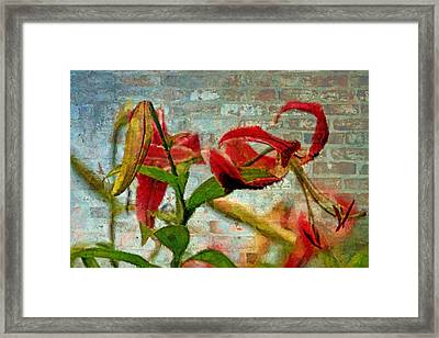Textured Wall Pendant Flower Framed Print by Geraldine Scull