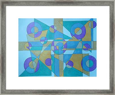 Framed Print featuring the drawing Textures In Blue  by Beth Akerman