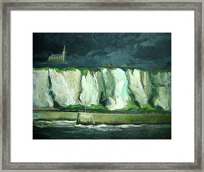 Tha Cliffs Of Etretat At Night Framed Print by Zois Shuttie