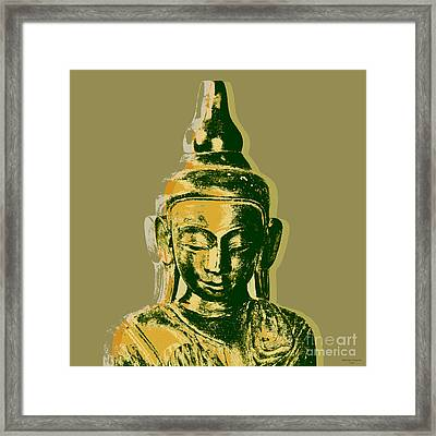 Framed Print featuring the digital art Thai Buddha #4 Pop Art Warhol Style Print.  by Jean luc Comperat