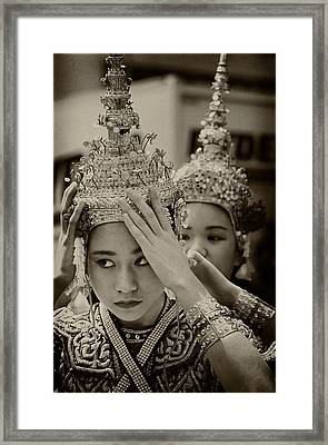Thai Dancers Preparing Framed Print