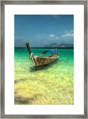 Framed Print featuring the photograph Thai Longboat  by Adrian Evans
