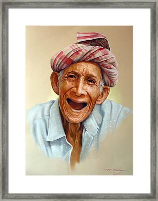 Thai Old Man2 Framed Print by Chonkhet Phanwichien