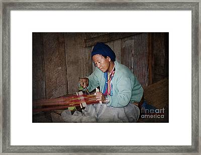 Framed Print featuring the photograph Thai Weaving Tradition by Heiko Koehrer-Wagner