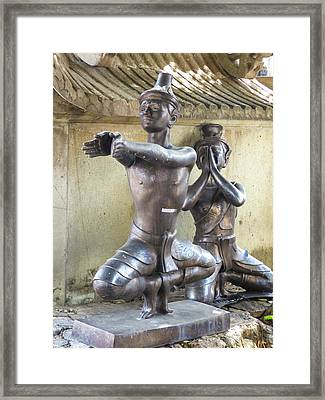 Thai Yoga Statues At Famous Wat Pho Temple Framed Print