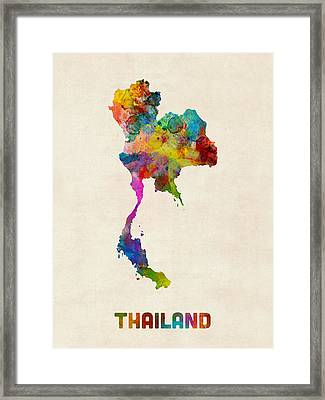 Thailand Watercolor Map Framed Print by Michael Tompsett
