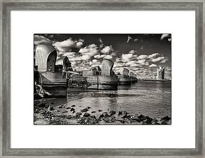 Thames Barrier At Low Tide Framed Print
