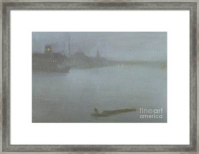 Thames   Nocturne In Blue And Silver Framed Print