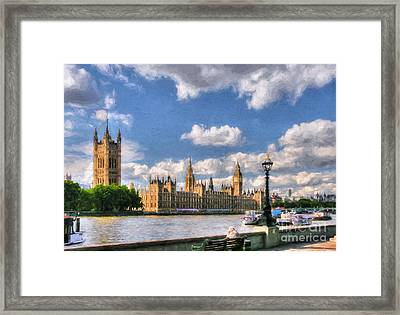 Thames River In London # 3 Framed Print by Mel Steinhauer