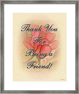 Thank You Friend - Rose 1 Framed Print
