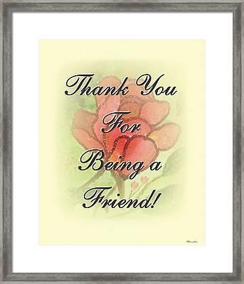 Thank You Friend - Rose 2 Framed Print