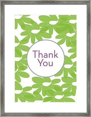 Thank You Green Flowers- Art By Linda Woods Framed Print by Linda Woods