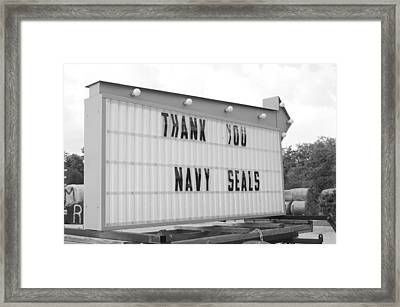 Thank You Navy Seals Bw Framed Print by Lynda Dawson-Youngclaus