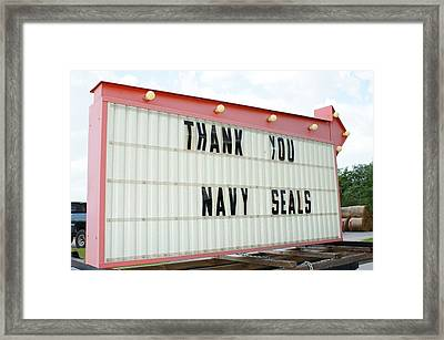 Thank You Navy Seals Framed Print by Lynda Dawson-Youngclaus
