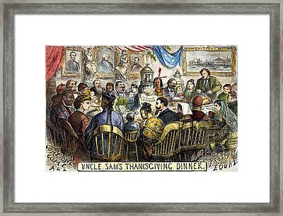 Thanksgiving Cartoon, 1869 Framed Print