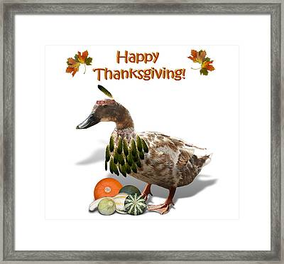 Thanksgiving Indian Duck Framed Print