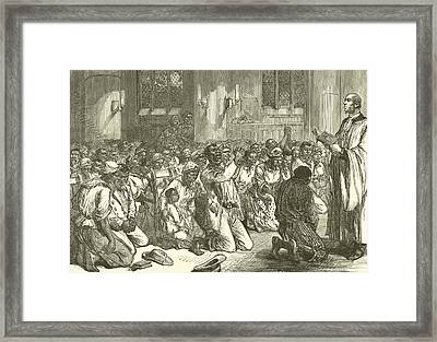 Thanksgiving Service At Midnight For The Emancipation Of The Slaves Framed Print