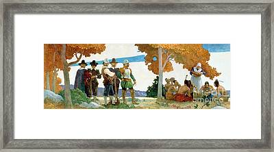 Thanksgiving With Indians Framed Print by Newell Convers Wyeth